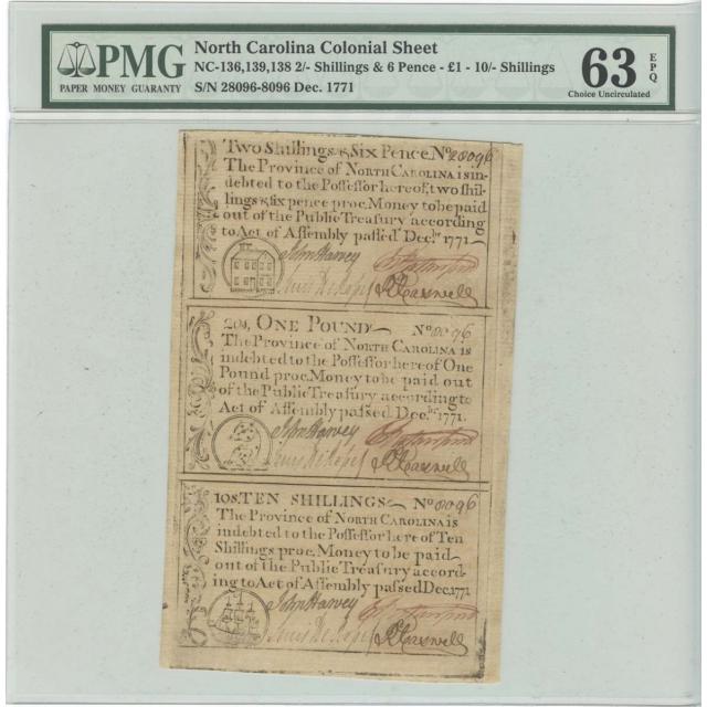 1771 North Carolina Colonial Sheet 2s6d, 1P, 10s PMG CU63 EPQ