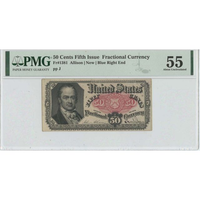 Fifth Issue 25 Cents Fractional Paper FR#1266 PMG 63 CH UNC Short Thick Key