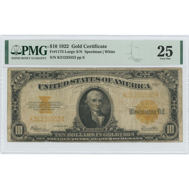 1922 $10 Gold Certificate FR#1173 Large S/N PMG Very Fine 25