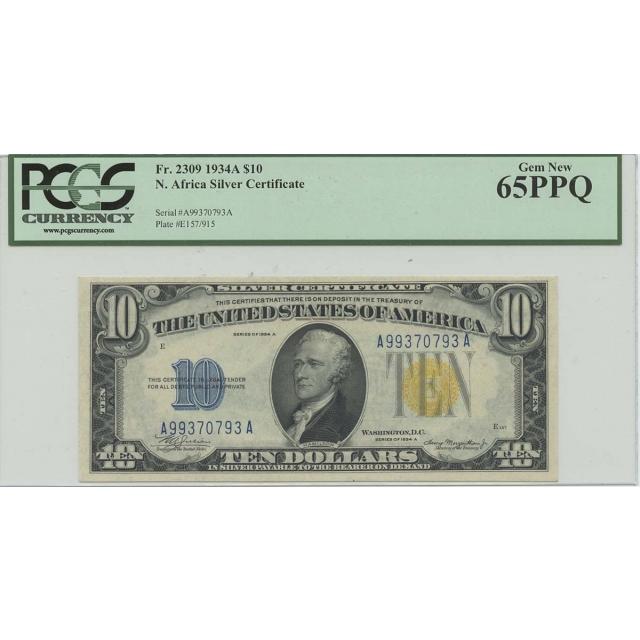1934A $10 WWII N Africa FR#2309 PCGS 65 Gem PPQ AA Block