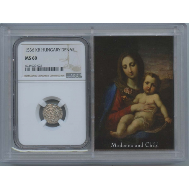 1529-1553 Hungary Ferdinand Denar NGC MS60 Madonna Child Story Vault