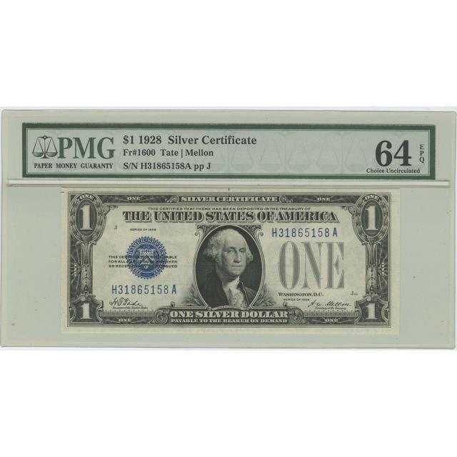 1928 $1 Silver Certificate FR#1600 PMG CH UNC 64 EPQ