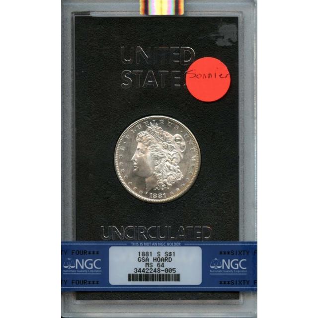 """1881-S Morgan Dollar GSA HOARD S$1 NGC MS64 . """"SONNIER COLLECTION"""""""