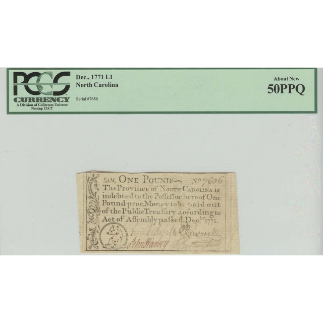 1771 1 Pound Dec, North Carolina Colonial Note PCGS 50 About New PPQ