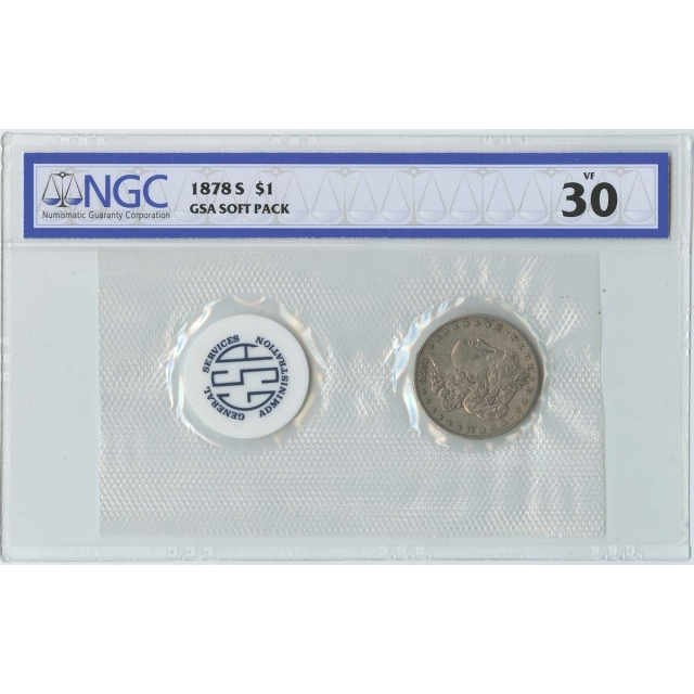 1878-S Morgan Dollar GSA SOFT PACK S$1 NGC VF30