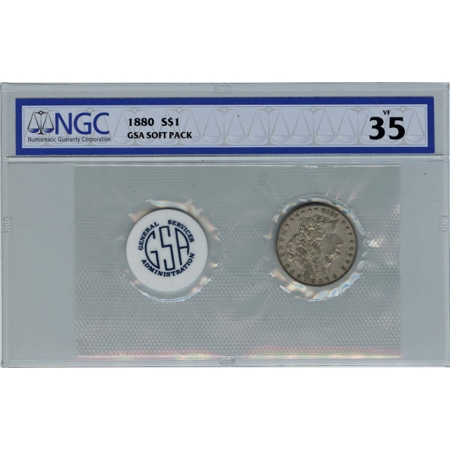 1880 Morgan Dollar GSA SOFT PACK S$1 NGC VF35