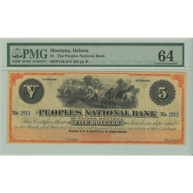$5 Montana Helena Peoples National Bank Obsolete PMG CU64