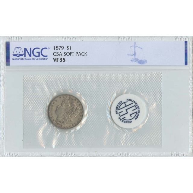 1879 Morgan Dollar GSA SOFT PACK S$1 NGC VF35
