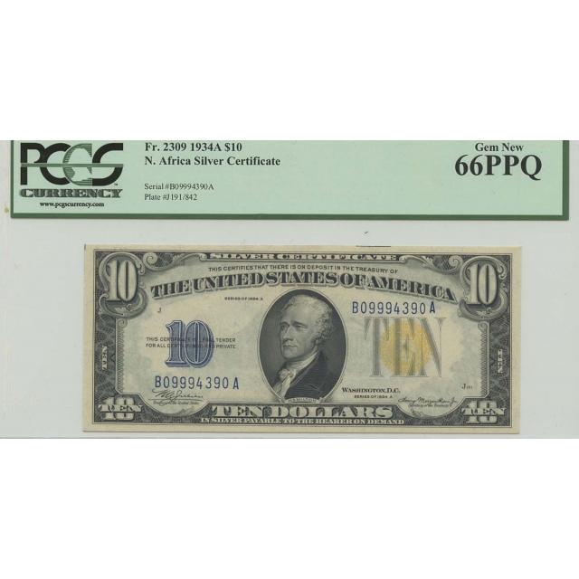 1934A $10 WWII N Africa FR#2309 PCGS 66 Gem PPQ BA Block