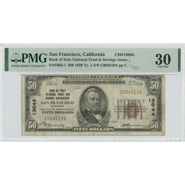 1929 $50 Italy National San Francisco CA CH#130044 PMG 30 VF