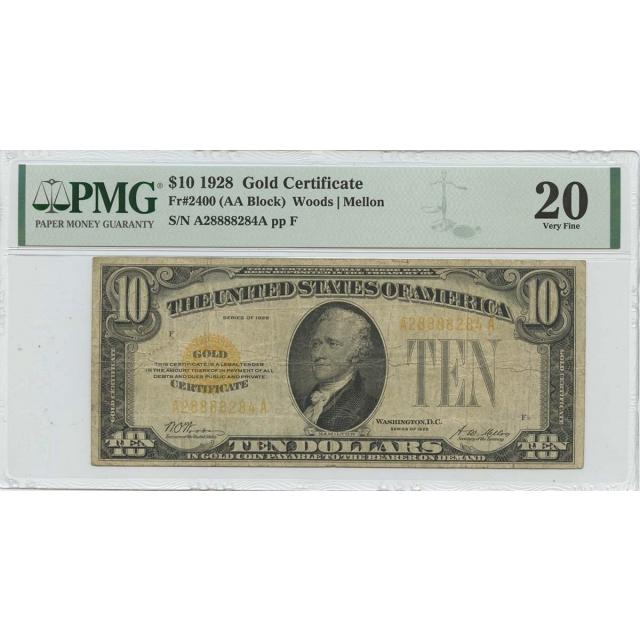 1928 $10 Gold Certificate  Fr# 2400 PMG VF20
