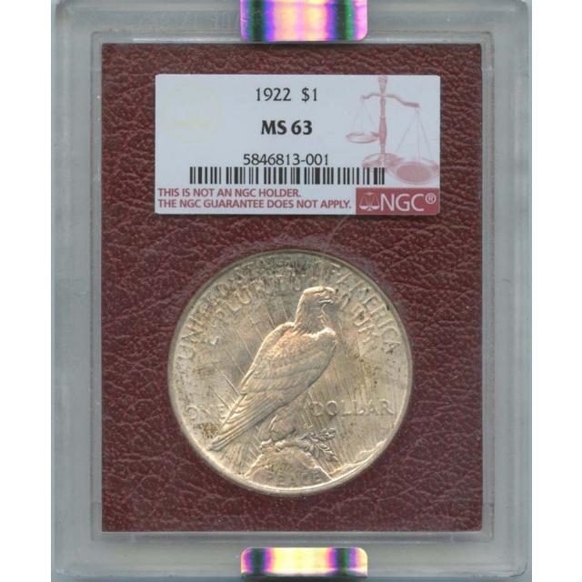 1922 Peace Dollar S$1 Paramount NGC MS63