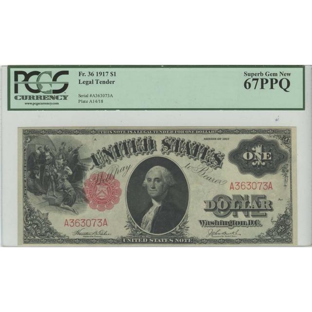 $1 1917 Legal Tender FR 36 PCGS Superb Gem MS67 PPQ