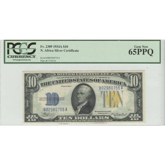 1934A $10 N. Africa PCGS 65 GEM PPQ FR#2309