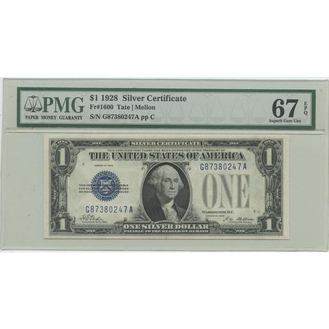 1928 $1 Silver Cert FR#1600 PMG 67 Superb Gem UNC EPQ