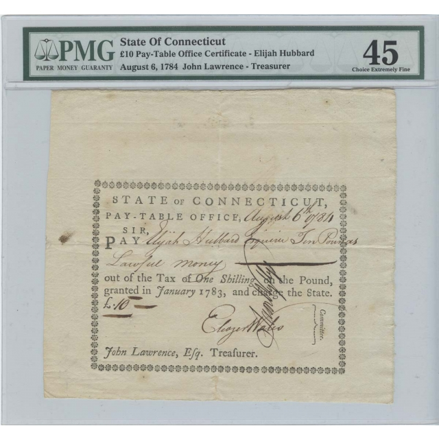 1784 10 Pounds Pay-Table Office Hartford Connecticut PMG XF45