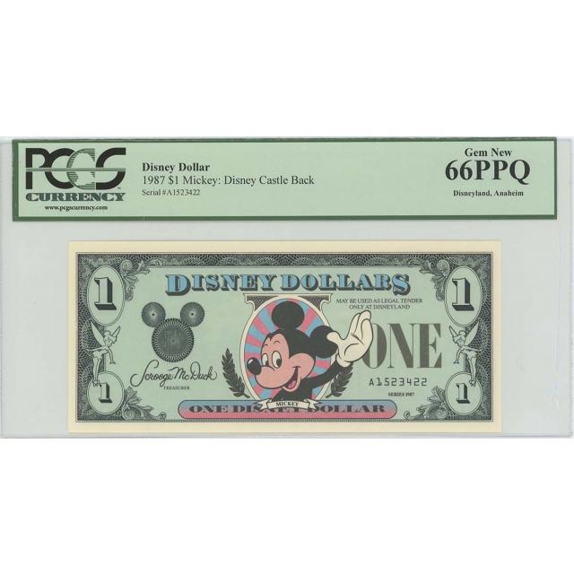 1987 $1 Disney Dollar Mickey Castle Back PCGS 66 PPQ GEM Anaheim