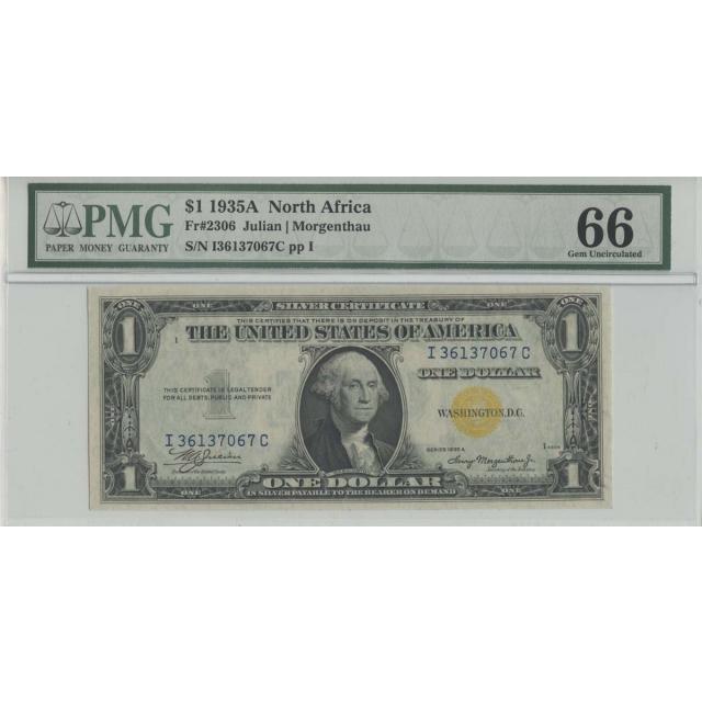 1935A $1 North Africa FR#2306 PMG 66 GEM UNC