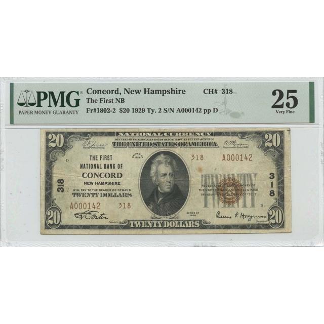 1929 Concord NH NB Ty. 2 $20 Ty. 2  CH#318 PMG VF25