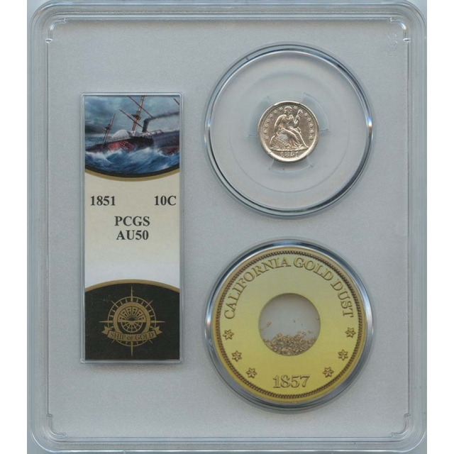 1851 10C Liberty Dime PCGS AU50 SS Central America Pinch Gold
