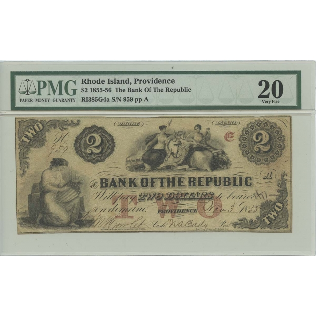 1855-56 $2 Bank of the Republic Providence Rhode Island PMG Very Fine 20