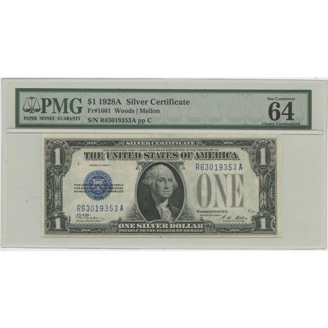 1928A $1 Silver Cert FR#1601 PMG 64 CH UNC EPQ