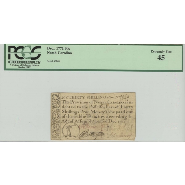 1771 Dec. 30 Shillings North Carolina PCGS 45 Extremely Fine