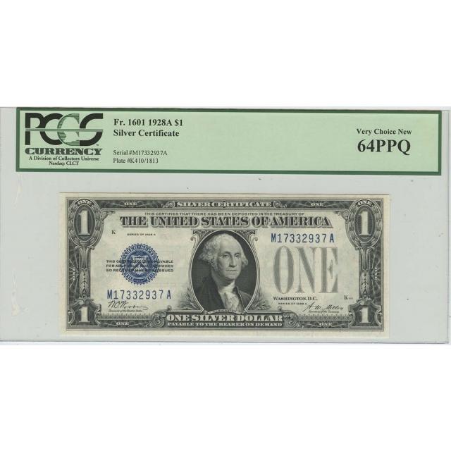 1928A $1 Silver Cert FR#1601 PCGS 64 Very CH New PPQ