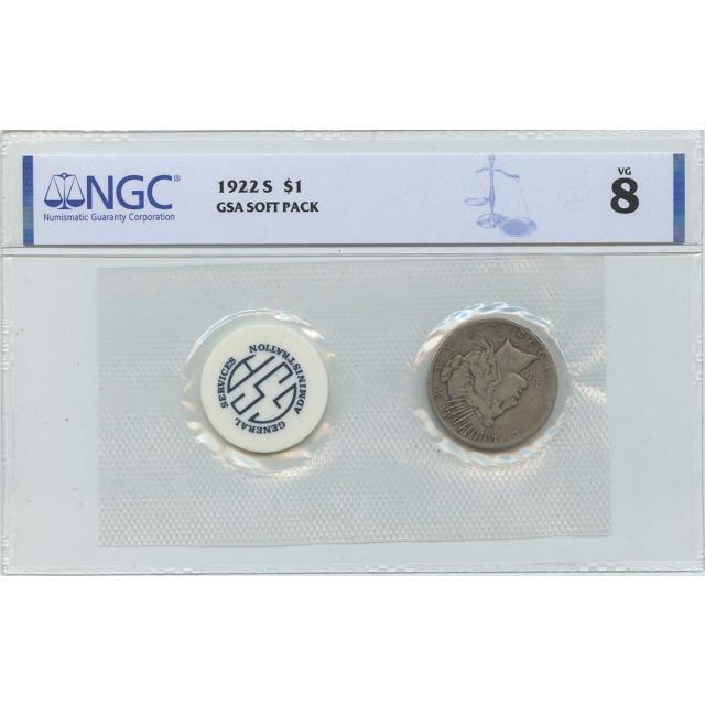 1922-S Peace Dollar GSA SOFT PACK S$1 NGC VG8