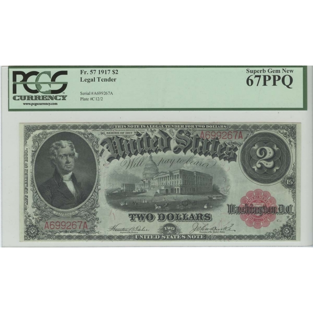 $2 1917 Legal Tender FR 57 PCGS Superb Gem MS67 PPQ POP 4