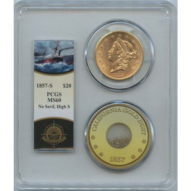 1857-S $20 Liberty PCGS MS60 SS Central America Pinch Shipwreck