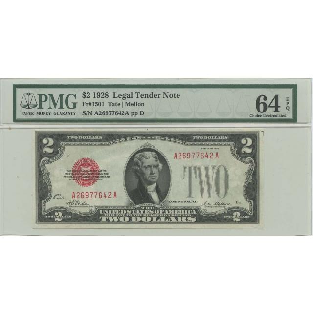 1928 $2 Legal Tender FR#1501 PMG 64 EPQ Choice