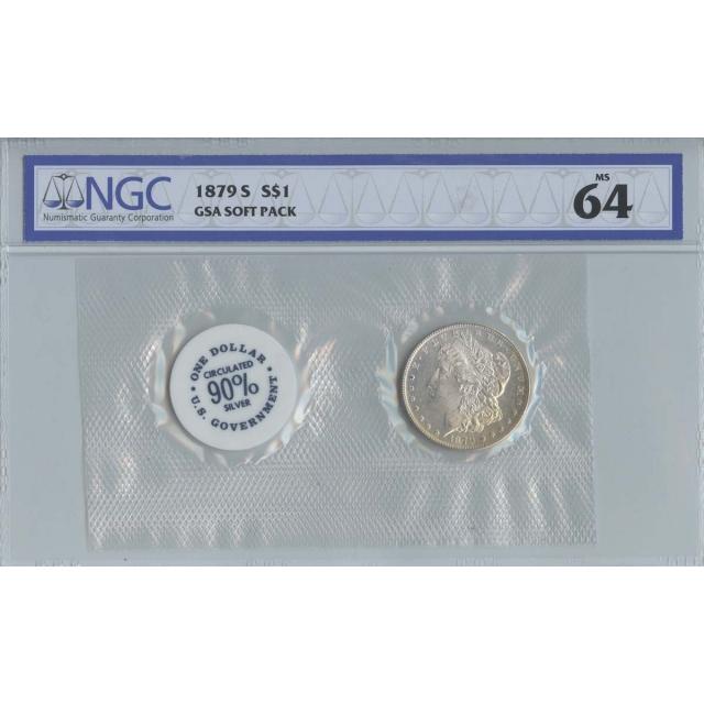 1879-S Morgan Dollar GSA SOFT PACK S$1 NGC MS64