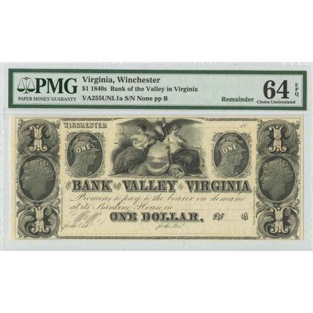 1840s $1 Virginia Obsolete PMG 64 Choice UNC EPQ Remainder Winchester Virginia