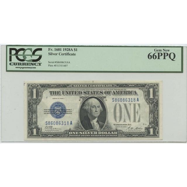 1928A $1 Silver Cert FR#1601 PCGS 66 Gem New PPQ