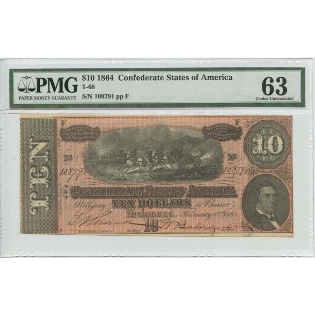 $10 1864 Confederate States of America T-68 PMG 63 CH Unc