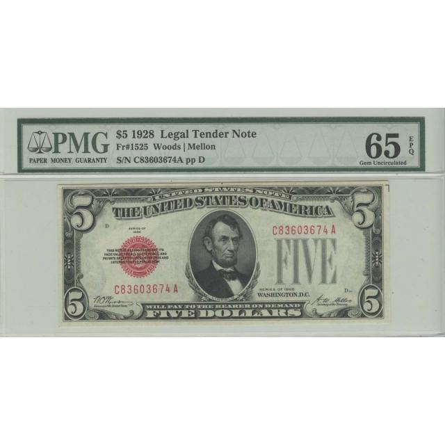 1928 $5 Legal Tender Note PMG 65 Gem Unc EPQ