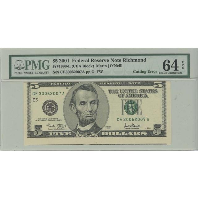 2001 $5 FRN PMG 64 EPQ Cutting Error Choice Uncirculated Richmond