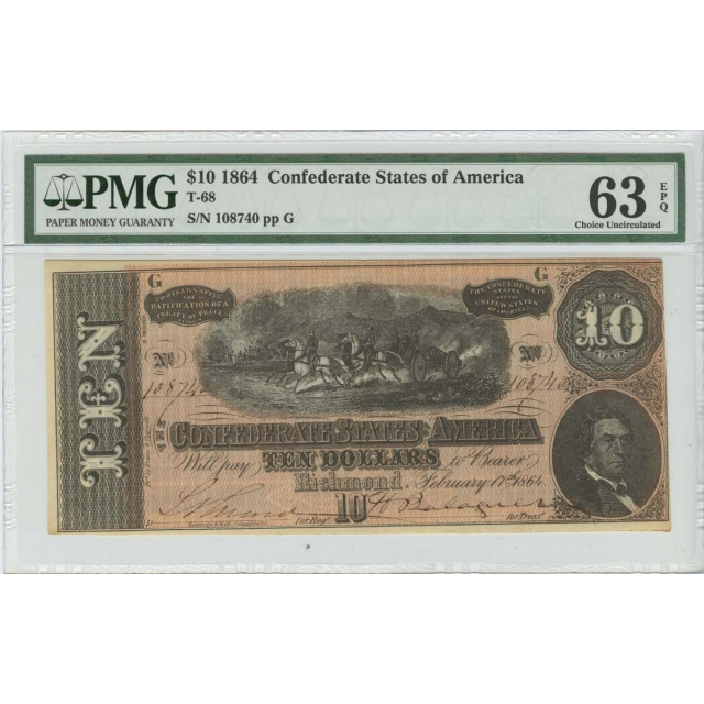 $10 1864 Confederate States of America T-68 PMG 63 Ch Unc EPQ