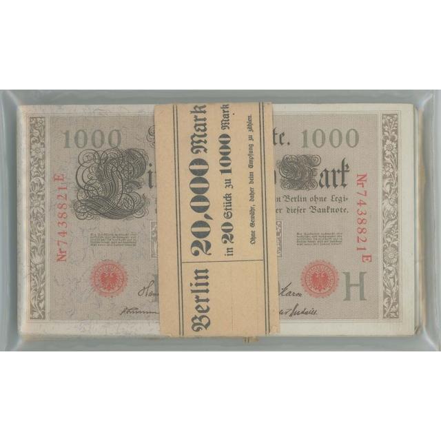 1910 Germany 1000 Mark 5 Packs 100,000 Marks Reichsbanknote