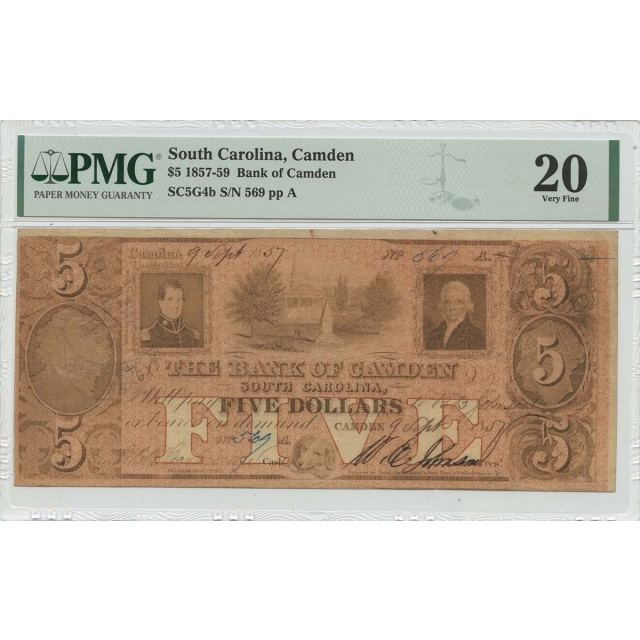 1857-59 $5 So. Carolina, Bank of Camden PMG VF20
