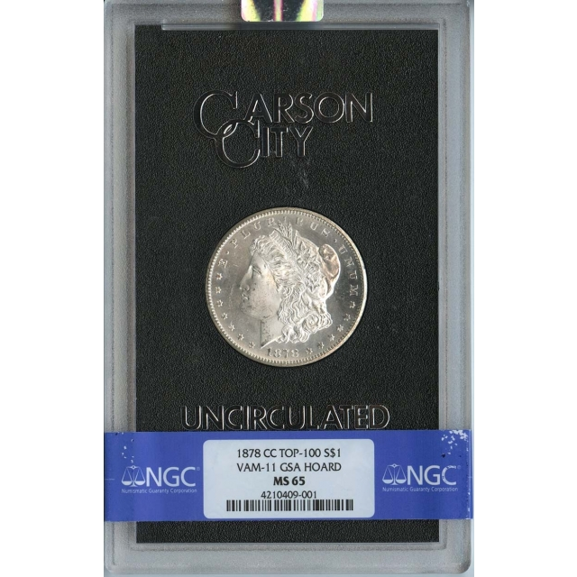 1878-CC TOP-100 Morgan Dollar VAM-11 GSA HOARD S$1 NGC MS65