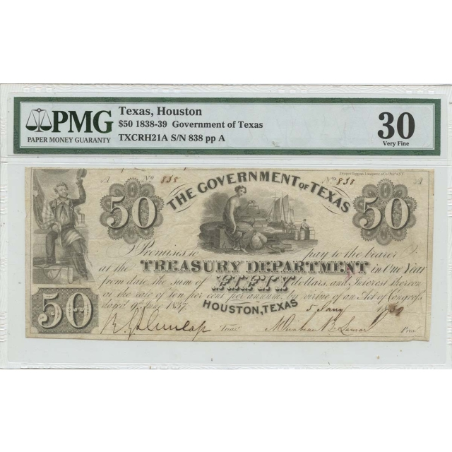 1838-39 $50 Texas Houston Haxby# OBSTXCRH21A PMG VF30