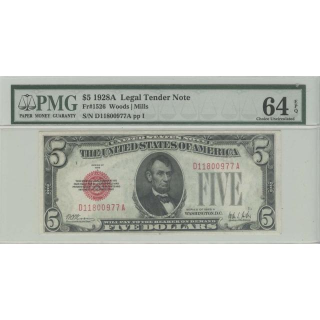 1928A $5 Legal Tender Note PMG 64 Ch Unc EPQ
