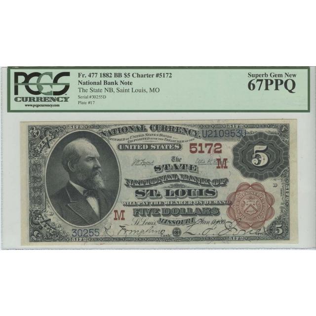 $5 1882 St Louis Brown Back National PCGS Superb Gem MS67 PPQ FR 477 CH# 5172