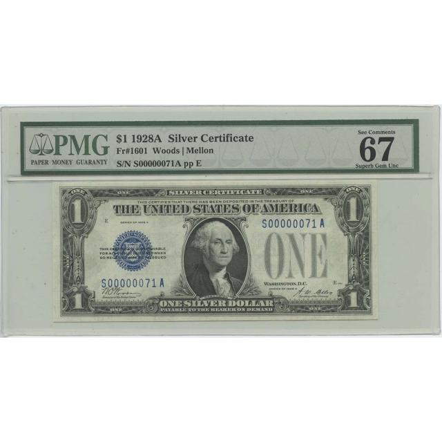 1928A $1 Silver Certificate FR1601 PMG Superb Gem 67 EPQ Low Serial #71