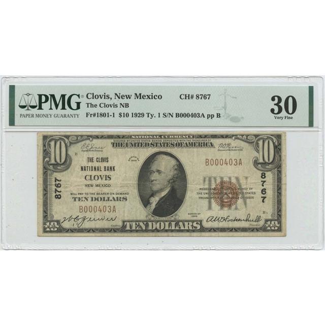 1929 $10 National Bank Clovis New Mexico PMG VF30 FR#1801 CH#8767