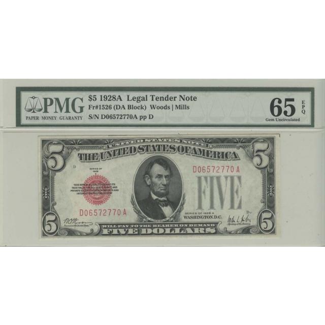 1928A $5 Legal Tender Note PMG 65 Gem Unc EPQ DA Block