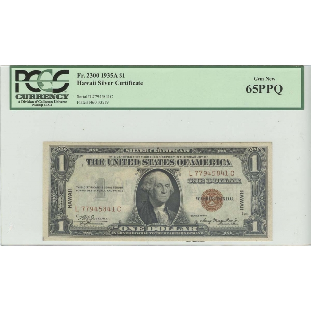 1935A $1 Hawaii WW2 PCGS 65 GEM PPQ FR#2300