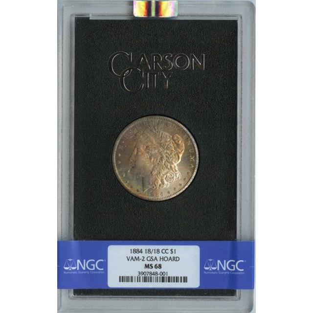 1884-CC $1 Morgan Dollar GSA MS68 NGC VAM-2 18/18 Finest Known